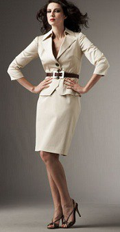 Belted Twill Skirtsuit