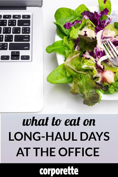 "stock photo of salad next to computer with the text ""What to Eat on Long-Haul Days at the Office"