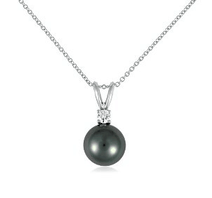 Tahitian Cultured Pearl and Diamond Pendant