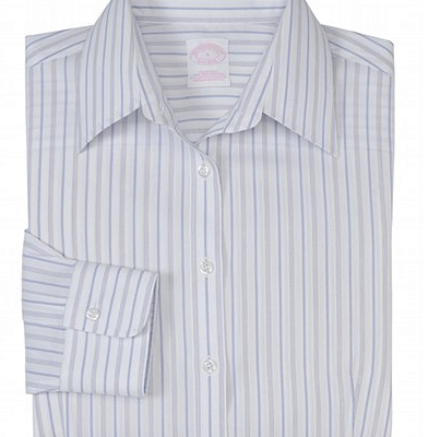 Non-Iron Medium Stripe Tailored Fit Dress Shirt with DOW XLA™