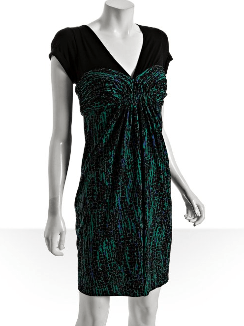 BCBGMAXAZRIA green printed stretch woven draped front dress