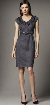 Kay Unger Belted Chambray Dress