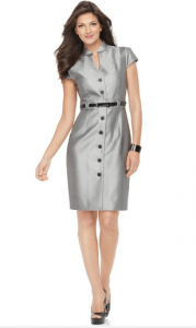 Calvin Klein Dress, Cap Sleeve Belted Metallic Shirtdress Sheath
