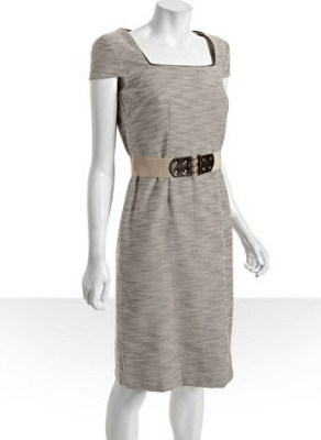 Tahari ASL tan space dyed cotton blend 'Julie' belted sheath dress