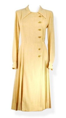 1960s Chanel Pleated Camel Vintage Dress