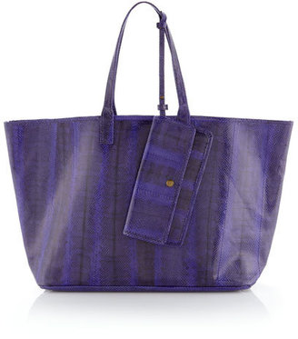 Beirn Grace Snake-Embossed Tote, Purple