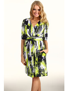 Ellen Tracy - 3/4 Sleeve Jersey Dress (Navy/Green) - Apparel