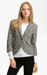 Smythe Leather Patch Houndstooth Blazer