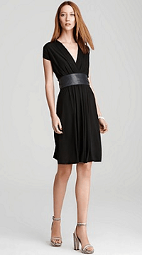 DKNY Belted V Neck Dress