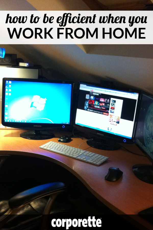 "photo of home computer with two monitors and text ""How To be Efficient When You Work From Home"""