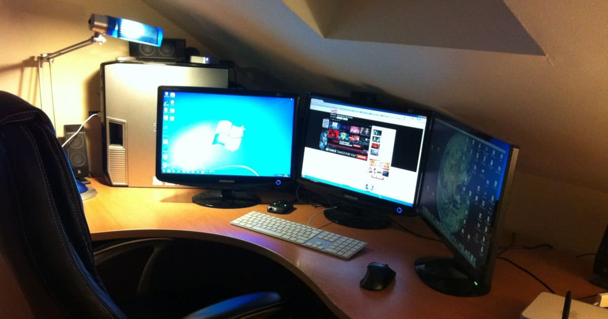 photo of home computer with two monitors