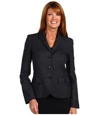 Anne Klein - Novelty Menswear Button Front Jacket (Admiral Navy Multi)