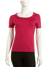Lafayette 148 New York Scoop-Neck Tee, Magnolia