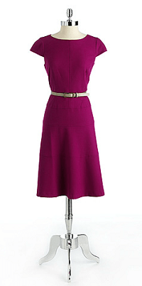 ANNE KLEIN Textured Belted Dress