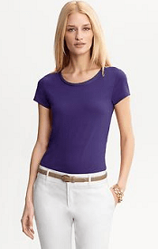 Luxe-touch piped neckline tee