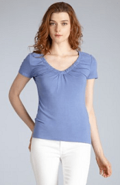 Elie Tahari blue spa jersey 'Sivan' gathered v-neck t-shirt