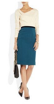 Roland Mouret Angel Two-Tone Stretch-Crepe Dress