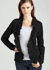 Wednesday's TPS Report: Cashmere Ruffle Trim Open Front Cardigan In Black