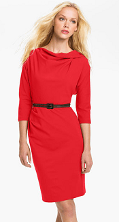 Suzi Chin for Maggy Boutique Belted Dolman Sleeve Sheath Dress