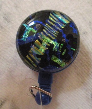 blue black and gold retractable glass id badge holder