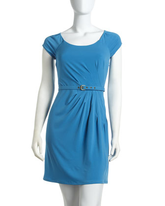 Laundry by Shelli Segal Scoop-Neck Belted Dress