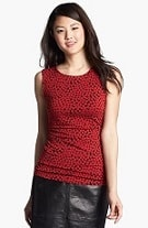 Halogen® Dot Print Side Ruched Top - four colors, now $29.90 (will be $49 after sale)