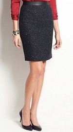 Ann Taylor Faux Leather Waist Tweed Skirt