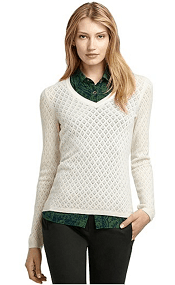 Brooks Brothers Pointelle V-Neck Cashmere Sweater