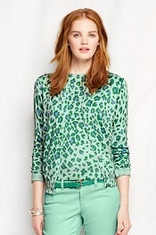 Lands End Supima Leopard Cardigan