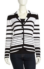 Three-Button Striped Knit Blazer