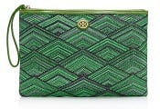 Tory Burch Patterned Woven Large Pouch