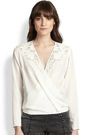 The Kooples Silk Broderie Anglaise Crossover Blouse