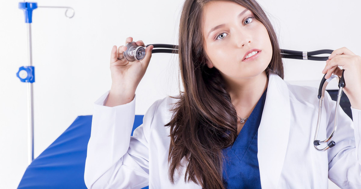 stock photo of young female doctor