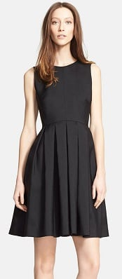 Burberry London Wool & Silk Paneled Fit & Flare Dress