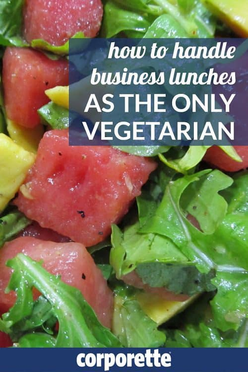 How to handle business lunches as the only vegetarian: it's never fun to be the one nibbling on salad at the steakhouse. What are the best dishes to order, the safest alterations to request -- and what the heck do you do when it's a CLE or other seminar or conference and it's nothing but meat sandwiches?