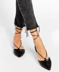Lace-up flats - ALDO Colyn Black Ghillie Tie-Up Flat Shoes