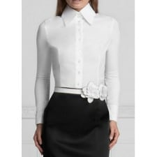 Cotton White Tailored Shirt: Anne Fontaine Armantine Fitted Tailored T-Blouse