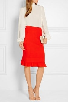 Red Work Skirt: Fluted Wool Pencil Skirt