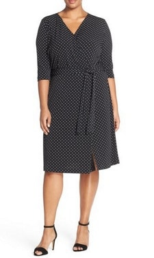 Plus-Size Work Dress: Vince Camuto Dot Print Three-Quarter Sleeve Wrap Dress