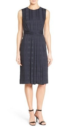 Sleeveless Work Dress: Classiques Entier Shaded Plaid Faux Wrap Pleat Front Dress