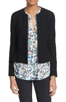 Collarless Cotton Blend Jacket: Rebecca Taylor Texture Knit Zip Front Fitted Jacket