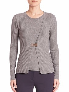 Gray Wool Cardigan: Peserico Knitted Top Cardigan