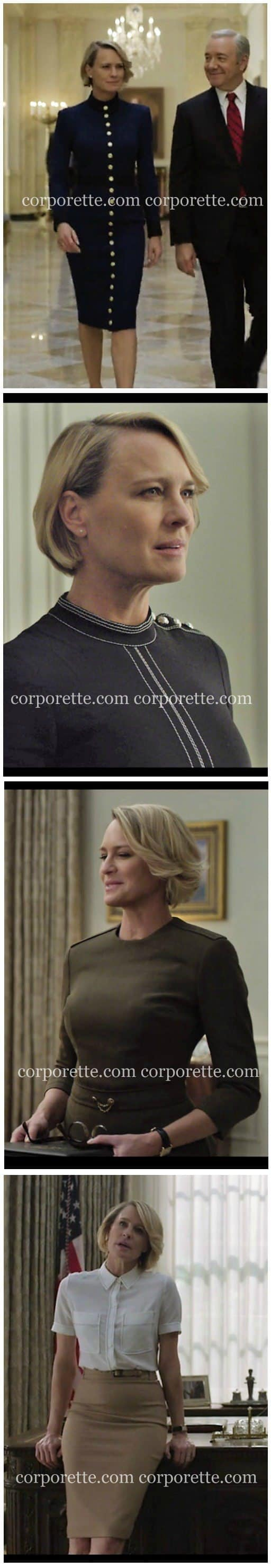 Wondering how to get Claire Underwood style - particularly her more military fashion inspiration from Season 4 of House of Cards? Check out some of our favorite workwear inspiration from Robin Wright's character in House of Cards.