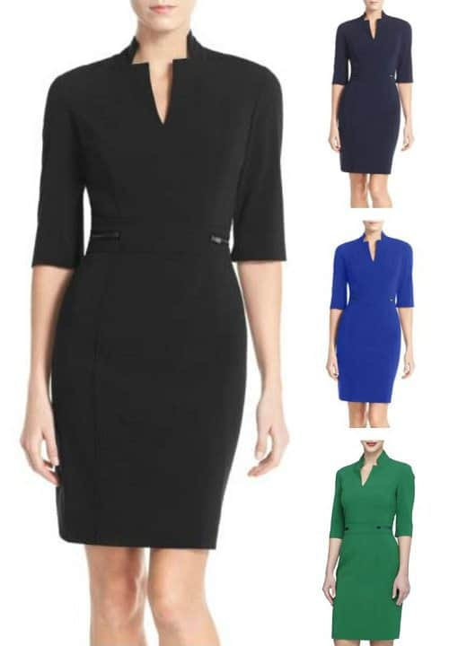 This sheath dress from Tahari is a workwear hall of famer because it has been around for years and gets great reviews! It also comes in petite sizes and several colors options.