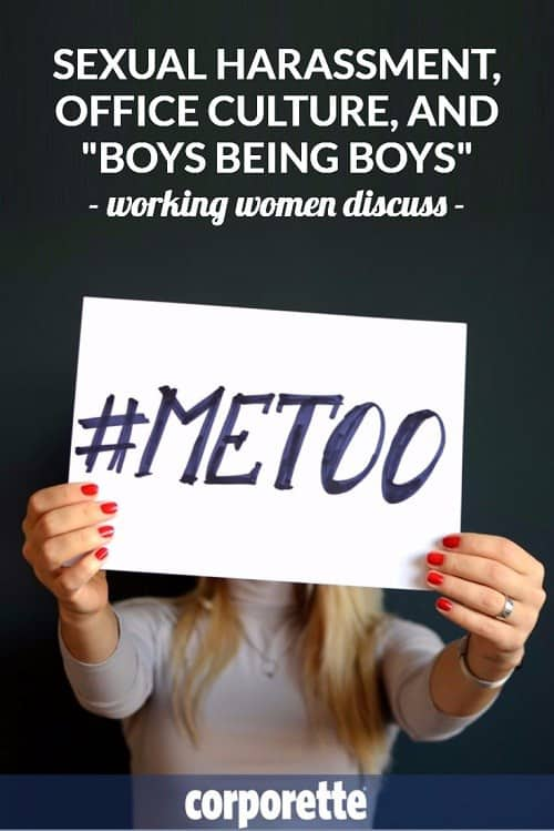 "In the post-Weinstein era, women working in male-dominated offices talk about sexual harassment, office culture, and ""boys being boys."" Great discussion with the readers (both those who are #metoo as well as those who are #notmetoo!)"