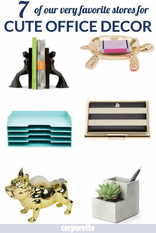 Where are the best places to get cute office decor? We went on a hunt and rounded up 7 of our our very favorite stores selling functional but FUN office supplies like tape dispensers, bookends, card cases, pencil holders, and more. Great to liven up even a stodgy, conservative office!