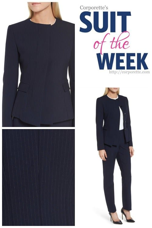 LOVE this navy pinstriped pantsuit with an asymmetrical hidden-button front closure -- such a cool feature that's professional and stylish as well.