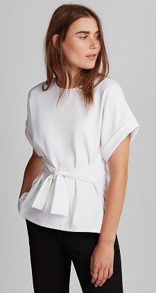 Tie Waist Rolled Sleeve Blouse