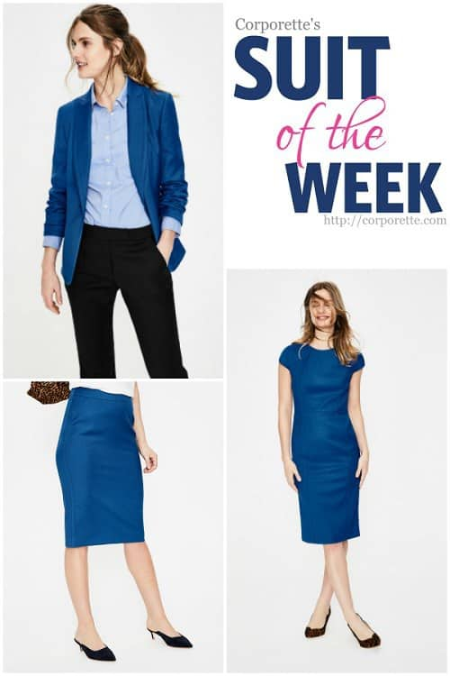love this gorgeous cobalt blue skirt suit -- a modern classic for polished women!