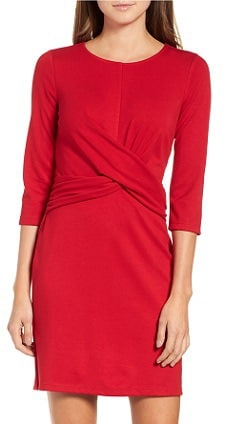 Knot Front Stretch Knit Body-Con Dress